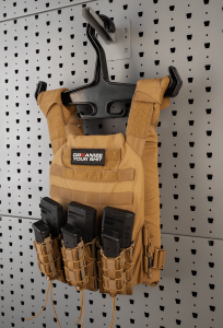 Heavy-Duty Hook and Vest Hanger set Both the Hook and Hanger are meant for heavier equipment like plate carriers.  Also works great for vests and chest rigs.  The hook holds the vest away from the rack to fit rear mounted pouches.